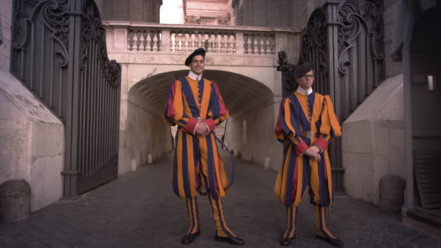 vatican city - may 2012 swiss guards stand at their post on may 8, 2012, in rome, italy. - 近衛兵点の映像素材/bロール