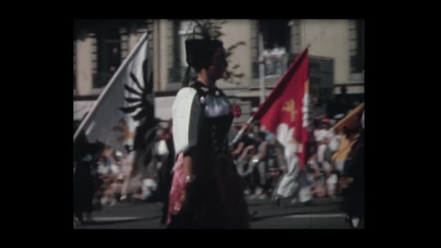 1964 swiss history and careers parade - historische kleidung traditionelle kleidung stock-videos und b-roll-filmmaterial