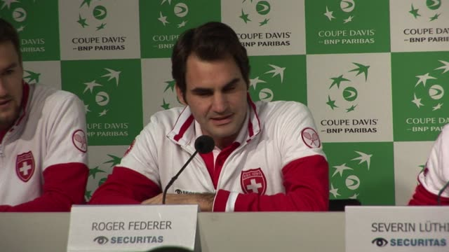swiss tennis star roger federer says he still hopes he will be able to participate in his countrys team in the davis cup final against france... - davis cup stock videos & royalty-free footage