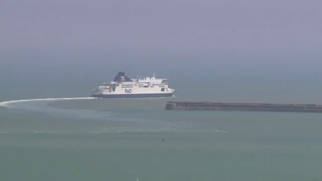swissport cutting half it's uk workforce as p&o and jet2 announce redundancies; england: ext various shots of p&o ferry sailing away - sailing stock videos & royalty-free footage