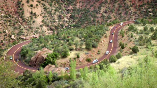 switchback road in zion - zion national park stock videos & royalty-free footage