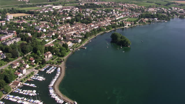 switzerland : close-up of the commune of rolle and lake leman - lake geneva stock videos & royalty-free footage