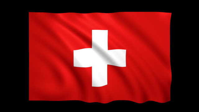 switzerland flag loopable alpha included - stock video - satin stock videos & royalty-free footage