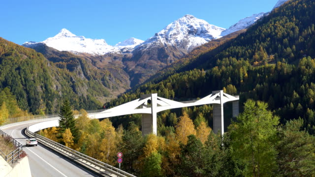 switzerland, modern bridge in the alps - switzerland stock videos & royalty-free footage