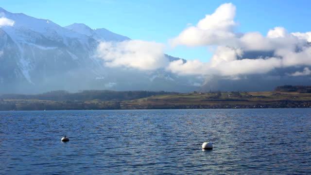 switzerland pyramid niesenhorn and thun lake - lake thun stock videos and b-roll footage