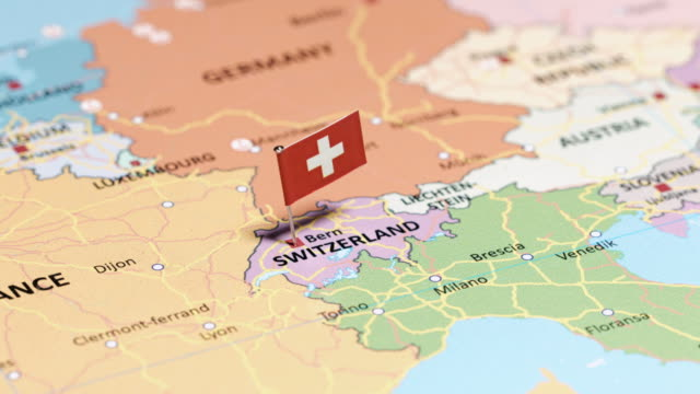 switzerland with national flag - switzerland stock videos & royalty-free footage