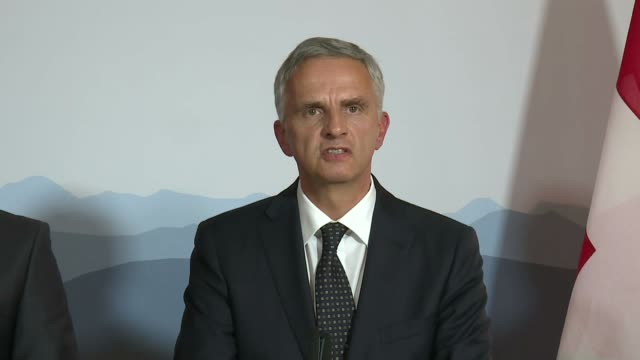 Switzerland's Foreign Minister Didier Burkhalter and Turkish Minister of Foreign Affairs Mevlut Cavusoglu hold a joint press conference in Bern...