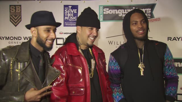 swizz beats french montana and waka flocka flame the vh1 save the music foundation's songwriter music series with swizz beats at hard rock cafe times... - hard rock cafe stock videos & royalty-free footage