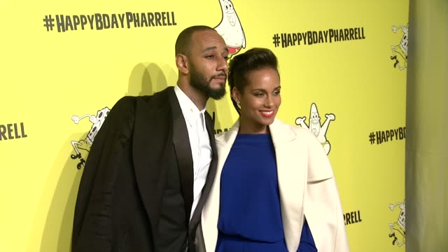 Swizz Beatz Alicia Keys at Pharrell Williams Celebrates 41st Birthday with SpongeBob SquarePantsThemed Party at Cipriani Wall Street on April 04 2014...