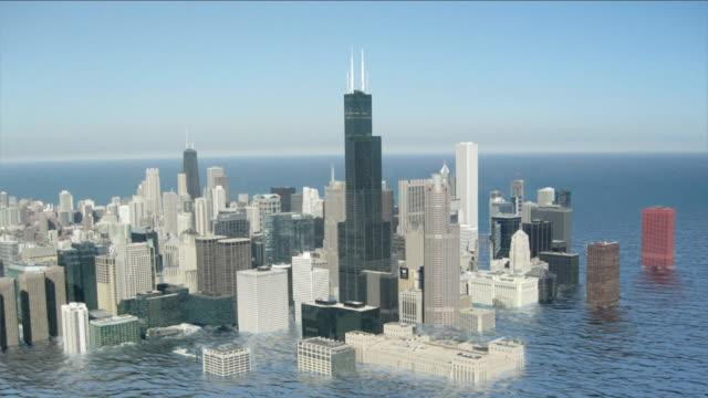 vidéos et rushes de swollen ocean waters flood chicago in a futuristic animation. - apocalypse
