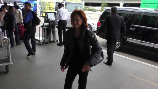 swoosie kurtz departing at lax airport in los angeles in celebrity sightings in los angeles - swoosie kurtz stock videos & royalty-free footage