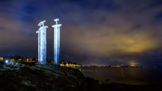 swords in rock - hafrsfjord, norway - stavanger stock videos & royalty-free footage