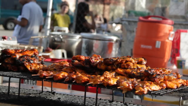 sxsw food stand asian bbq - austin texas stock videos & royalty-free footage