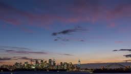 Sydney City Skyline Red Sky Sunset - Day to Night Timelapse