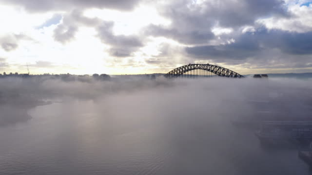 sydney city sunrise and fog with drone - fog stock videos & royalty-free footage