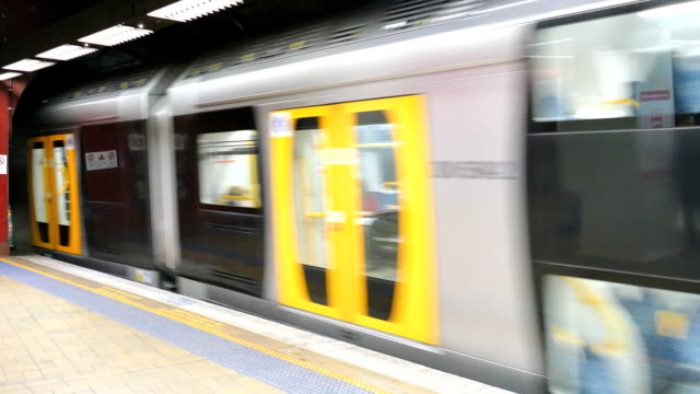 Sydney Commuter Train Leaving Platform, Australia