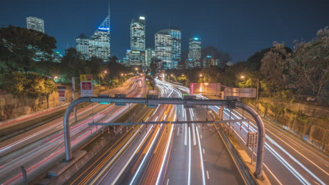 sydney freeway timelapse - long exposure stock videos & royalty-free footage