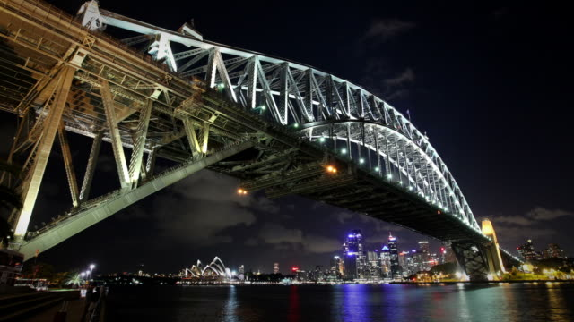 sydney habour bridge at night - low angle view stock videos & royalty-free footage