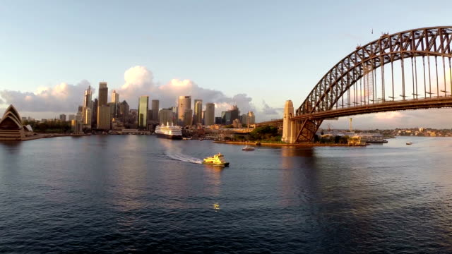 sydney harbor aerial footage - sunrise dawn stock videos & royalty-free footage