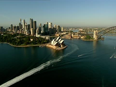 LOW AERIAL, Sydney Harbor and Sydney Opera House, Sydney Australia
