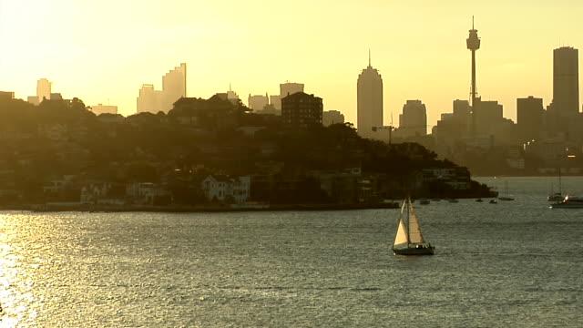 ws, sydney harbor at sunset, sydney, australia - lockdown stock videos & royalty-free footage