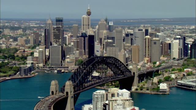 WS AERIAL Sydney Harbor Bridge and city skyline, Sydney, New South Wales, Australia