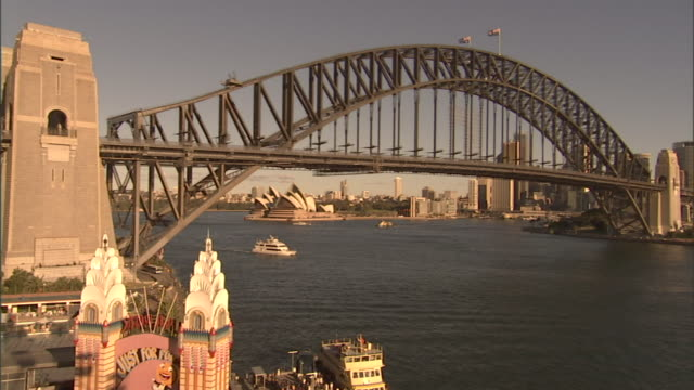 ha ws sydney harbor bridge with luna park in foreground and sydney opera house in background / sydney, australia - unknown gender stock videos & royalty-free footage