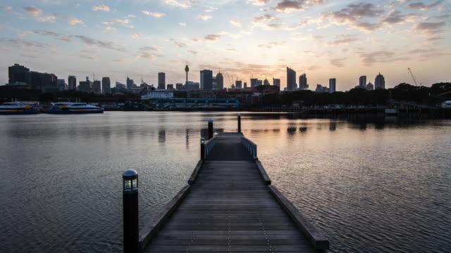 sydney harbour at sunrise - sydney stock videos & royalty-free footage