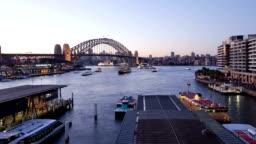 Sydney Harbour Bridge and Circular Quay dusk hyperlapse