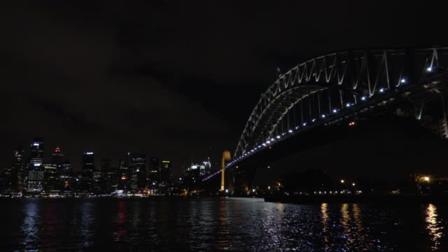 sydney harbour bridge and city at night 2 - steve munro stock videos & royalty-free footage
