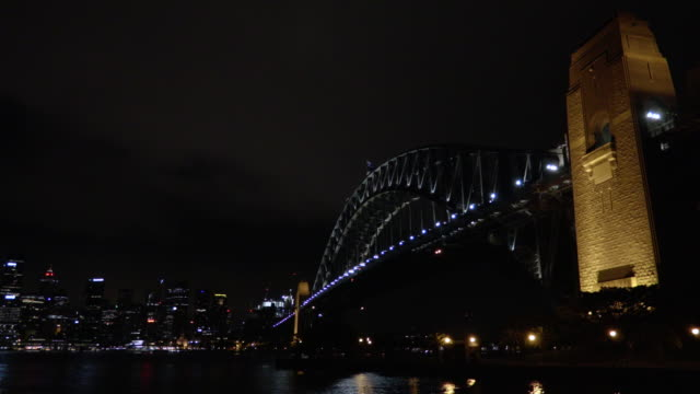 sydney harbour bridge and city at night 3 - steve munro stock videos & royalty-free footage