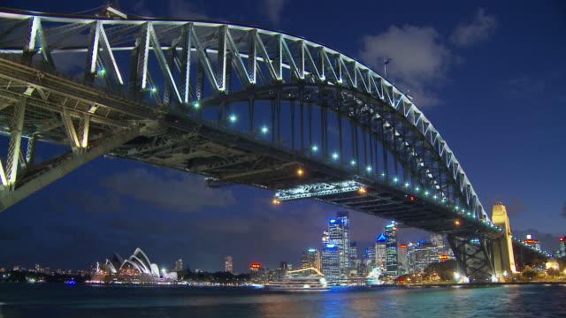 T/L WS LA Sydney Harbour Bridge at night / Sydney, New South Wales, Australia