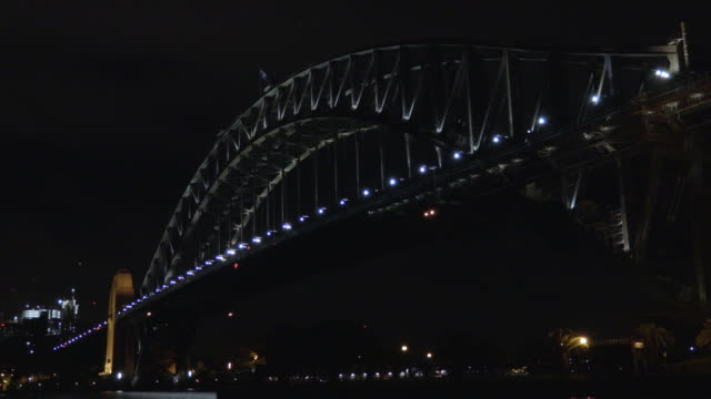 sydney harbour bridge at night - steve munro stock videos & royalty-free footage