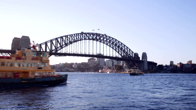 sydney harbour ferry with the bridge - ferry stock videos & royalty-free footage