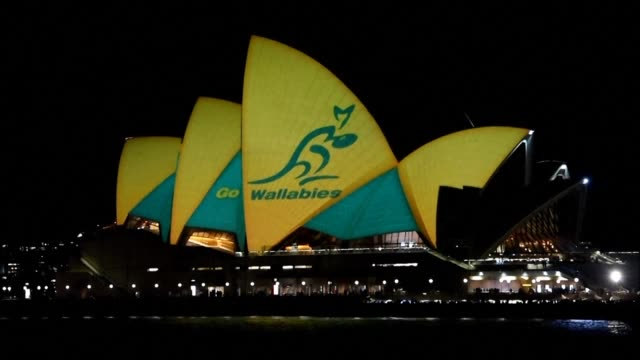 sydney opera house lit up in australian colours tin support of the national rugby team the wallabies who take on the new zealand all blacks in the... - australian national team stock videos & royalty-free footage