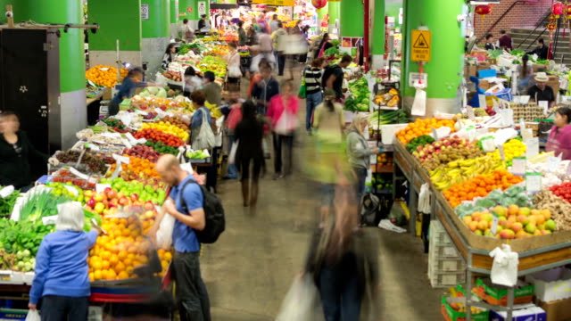 time lapse: sydney paddy's market - food stock videos & royalty-free footage