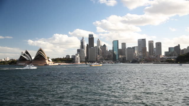 sydney skyline and opera house - sydney australia stock videos and b-roll footage