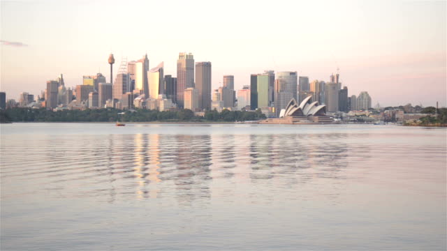 sydney skyline sunrise - skyline stock videos & royalty-free footage