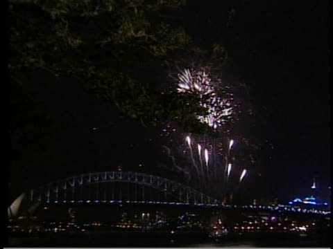 sydney skyline with fireworks and opera house and sydney harbour bridge there is an extreme wide exterior shot of the sydney opera house with the... - music or celebrities or fashion or film industry or film premiere or youth culture or novelty item or vacations stock videos & royalty-free footage
