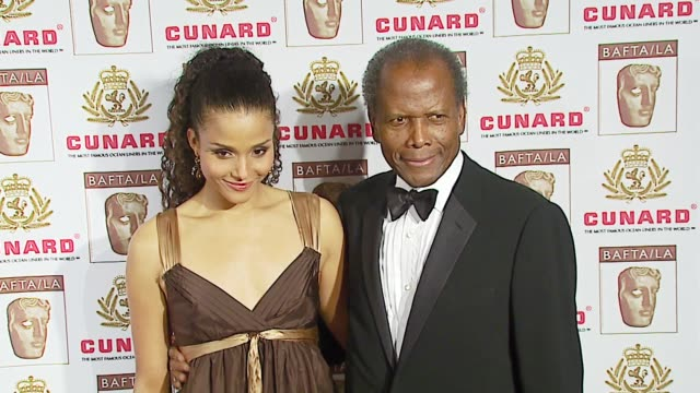 sydney tamiia poitier and sir sidney poitier at the 2006 bafta/cunard britannia awards at the hyatt regency century plaza hotel in beverly hills,... - sydney tamiia poitier stock videos & royalty-free footage