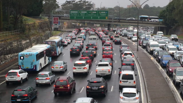 sydney traffic in on the freeway - traffic jam stock videos & royalty-free footage