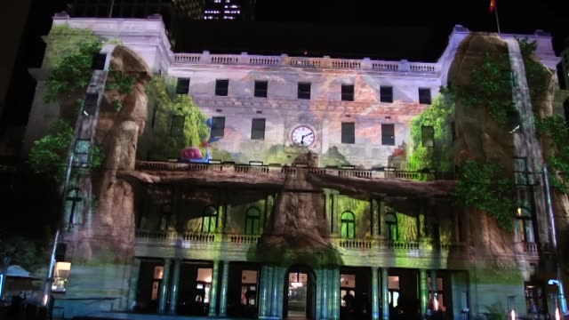 sydney's most iconic landmarks are illuminated during the opening ceremony of the vivid sydney on may 27 2016 in sydney australia the 23day festival... - bennelong point stock videos and b-roll footage