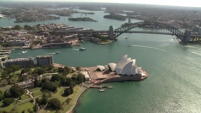 Sydney's opera house and a long bridge
