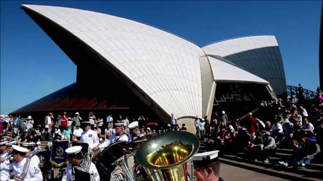 sydneys opera house world heritage listed as one of the indisputable masterpieces of human creativity celebrates its 40th birthday with a flotilla of... - bennelong point stock videos and b-roll footage