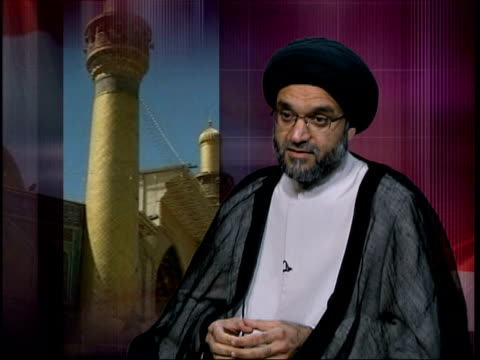 syed mohammed musawi interview sot ayatollah is in constant touch with iraq and with his office in najaf/ the efforts of his office brought things to... - najaf stock-videos und b-roll-filmmaterial