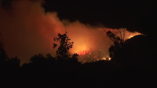 ktla sylmar ca us saddleridge fire on hills by night on thursday october 10 2019 - destruction stock videos & royalty-free footage