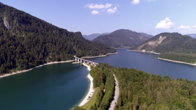 sylvenstein dam (sylvensteinspeicher) in upper bavaria - reservoir stock videos and b-roll footage