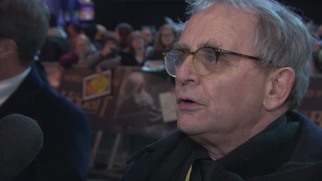 sylvester mccoy on looking forward to seeing the film at 'the hobbit: the battle of the five armies' world premiere at odeon leicester square on... - the hobbit: the battle of the five armies stock videos & royalty-free footage