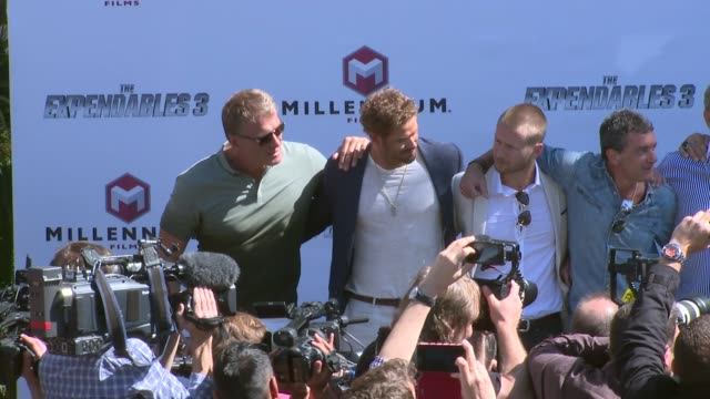 sylvester stallone arnold schwarznegger harrison ford jason statham mel gibson dolph lundgren at the expendables 3' photocall at carlton hotel on may... - mel gibson stock videos and b-roll footage