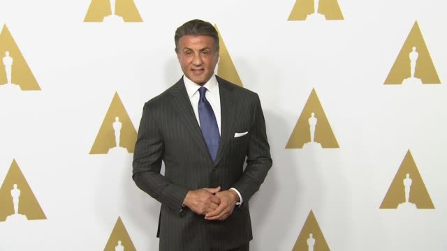 vídeos de stock, filmes e b-roll de sylvester stallone at 88th annual oscars® nominees luncheon at the beverly hilton hotel on february 08 2016 in beverly hills california - sylvester stallone
